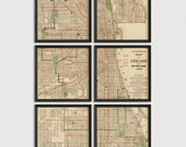 Old Chicago Map Art Print 1906 - Set of 6 Prints - Antique Map Archival Reproduction