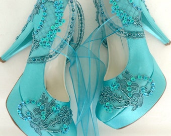 Wedding Shoes - Teal Embroidered Lace Bridal Shoes