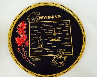 Wyoming Souvenir Tray / Vintage State of Wyoming Bar Serving Tray 1970's