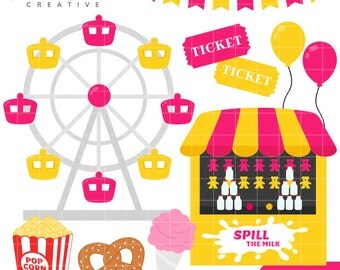 SALE! Carnival, Ferris Wheel, Popcorn, Cute Clipart, Personal & Small Commercial Use, Vector Clip Art, Instant Download, png, jpeg, eps