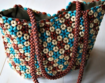 Bohemian wooden beaded bag, Free People wooden bead bag, Hippie Seventies fashion bag, wooden bead bag