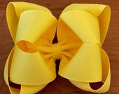Yellow Bow...Yellow Hair Bow....Double Boutique Hair Bow....Yellow Boutique Hair Bow..Girls Hair Bow