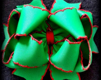 Christmas Hair Bow...Red and Green Bow...Green and Red Bow....Christmas Bow...Red and Green Christmas Hair Bow..Christmas Moonstitch Bow