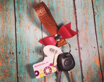 Leather Bow Keychain Snap