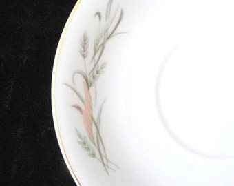 Lovely Fine China of Japan Joyce Saucers with Peach Green and Gray Leaves Vintage 1960s SET 4