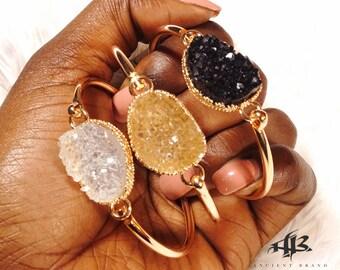 """Gold """"Khloe"""" Stone Bangle Bracelet"""