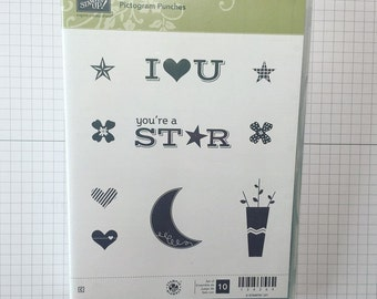 RETIRED- Stampin' Up! Pictogram Punches- Cling Mount Stamp- Red Rubber Stamp- Used Rubber Stamps- Moon Stamp (USED)