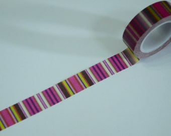 1 Roll Japanese Washi Tape -Pink and Purple Stripes