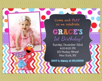 Elmo and Abby Cadabby Sesame Street Birthday Invitation