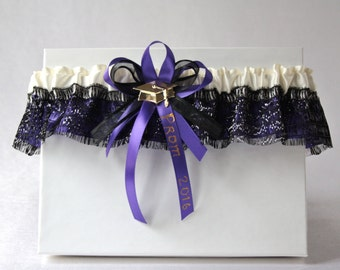 Purple and black Prom garter/Black 2017 Prom garter/Satin prom garter/Sparkling black garter/Custom garter/Purple prom garter/Ready to ship/