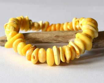 Natural Baltic Amber Bracelet - White Yellow Gold Amber Jewelry - Summer Time - Nature Inspired