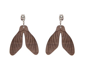 Sycamore Seed earrings - laser cut walnut wood