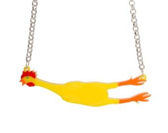 Rubber Chicken necklace - laser cut acrylic