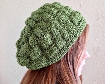 Slouchy Crochet Hat, Merino Wool & Silk Crocheted Puff Hat