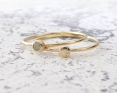 Milky opal gold ring - set of 2 9ct yellow gold rings - Orbit Collection