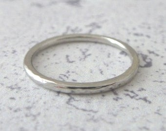Platinum Wedding Ring - Hammered or Smooth - Platinum Band Ring