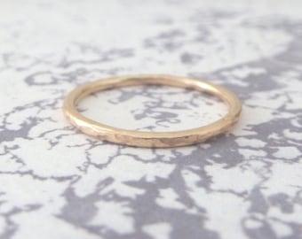 Rose Gold Wedding Band - 9ct Rose Gold - Hammered or Smooth - Wedding Band - Rose Gold Wedding Ring
