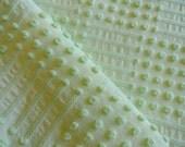 "DOWNSIZING SHOP SALE...Mint Green Morgan Jones Texture Tuft Dot Dash Chenille Vintage Bedspread Fabric Piece...18 x 23"""