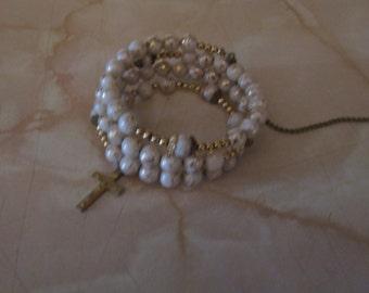 """Lovely 1950's Catholic Rosary """"Wrap"""" Bracelet ECS"""