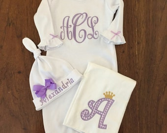 Take home gown outfit-Personalized Baby Girls Gown-  Burp cloth, hat baby pink Monogram- So sweet.