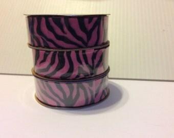 "7/8"" Hot Pink Zebra Print Grosgrain Ribbon"