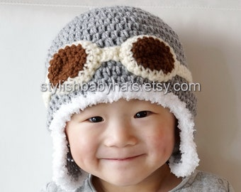 Aviator Hat, Gray / Grey, Crochet Baby Hat, Eskimo Hat, Pilot Hat, Bomber Hat, Baby Hat, photo prop