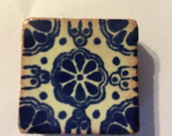 Blue and White Mexican Talavera Tile Square Magnet 1.25""