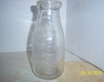 1920-30's  Mass W Seal Universal Store 5 Cent Milk Bottle Pint  7 1/2 inches tall