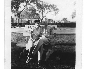 Antique photo World War 2 handsome sweetheart couple black and white 3 1/2 by 2 1/2""