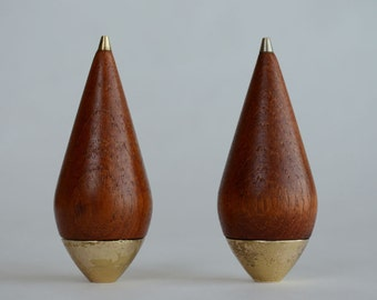 P. J. Ostergaard Designed Salt and Pepper Shakers in Teak and Brass Made in Denmark