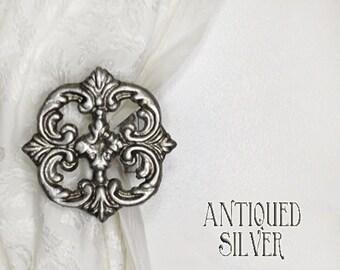 Curtain TieBacks / Holdbacks / Tie Back / Holdback / Antiqued Silver / Curtain Hook