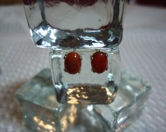 Oval Cabochon Red Fire Opal Earrings in Sterling Silver   #1861