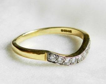 Contour Diamond Wedding Ring Art Nouveau Ring 18K Belle Epoch Diamond Ring Contour Wedding Band Antique Shaped Band Chevron OEC Ring