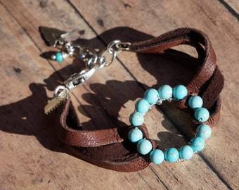 Turquoise and Suede Leather Cuff Bracelet, Western Boho