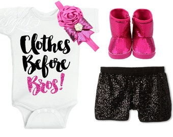 Baby Bodysuit Personalized - Clothes Before Bros | Baby Bodysuit Girl | Baby Bodysuit Funny | Pink Glitter | Girls Rock | Girl Power