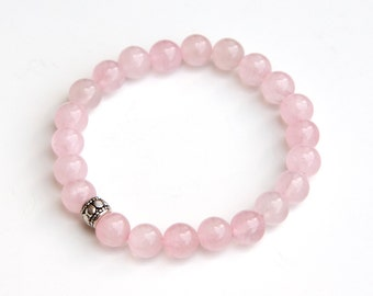 Rose Quartz bracelet, rose quartz jewelry, rose quartz bracelets, rose quartz beads, simple rose quartz bracelet, rose quartz