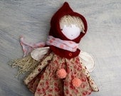 Pixie Girl Doll/Red Pixie Hat/OOAK Doll/ Handmade Doll/