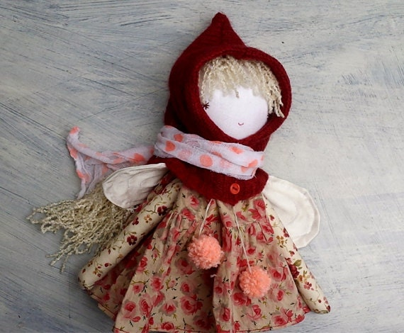Pixie Girl Doll/Red Pixie Hat/OOAK Doll/ Handmade Doll/