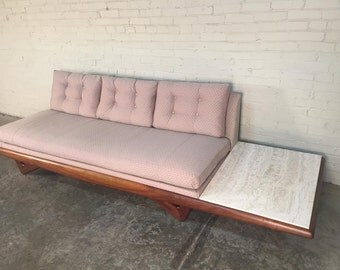 Adrian Pearsall For Craft Associates Gondola Sofa With Travertine End Table ~ Mad Men / Eames Era Decor *SHIPPING NOT INCLUDED*