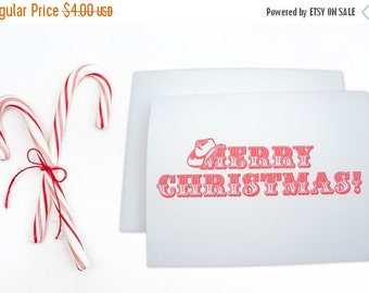50% OFF Letterpress card , christmas card , Western Merry Christmas Cowboy Hat Christmas Cowgirl Christmas , Red