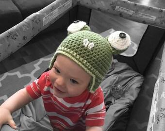 Handmade Baby Frog Hat, crochet frog cap, froggy beanie, jw caleb frog hat, newborn to adult, ear flap frog hat, calebs hat, frog beanie