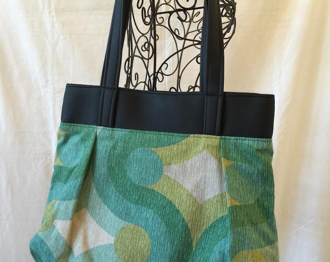 Sweet Pea Purse with Leather, Shoulder Bag, Purse, Medium Handbag, Comfortable Purse, #4013