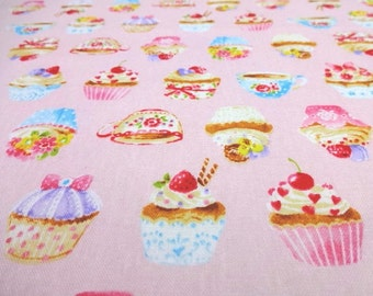 Japanese Fabric Kawaii Cupcake Pink Fat Quarter