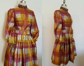 ON SALE 1970s Vintage Women's Plaid Metallic Party Dress Size Small Free Shipping