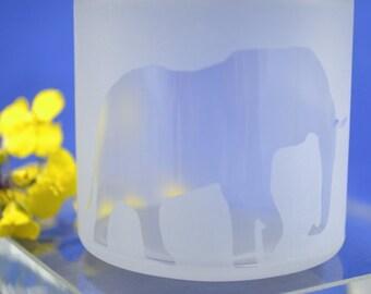 Glass Jar, Sandblasted Elephant Glass Jar, Stash Jar, Sand Etched Jar, Spice Jar, Frosted Glass Jar, Baby Food Jar