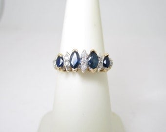 14K VINTAGE .83 ctw Natural Diamond & Sapphire WEDDING BAND Size 5 1/2 R1302