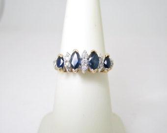VINTAGE 14K Solid Gold .83 ctw Natural Diamond & Sapphire WEDDING BAND Size 5 1/2 R1302