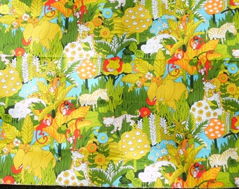 Vintage House N Home Bright Multi Colored Jungle Animal Print Heavy Cotton Canvas Fabric Heavy weight for upholstery, pillows