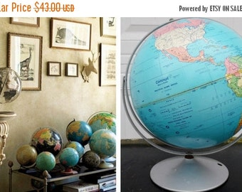 """ON SALE Vintage, 1991, Replogle, 12"""", World, Globe, Concept Map and Globe, Political Globe Series, USA, Vintage, Blue, Collectibles"""