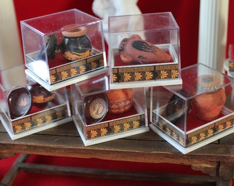 Dollhouse miniature museum showcase with greek set